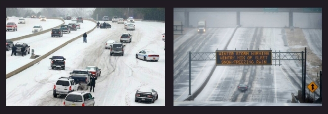 Wednesday near Charlotte (@Reuters) versus how it looked in Atlanta at the same time (AP).