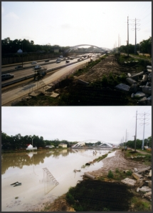 I-59 runs 17 feet below-grade just southwest of downtown Houston. Allison filled it up and caused historic flooding throughout the region. Photos: Fred Rogers