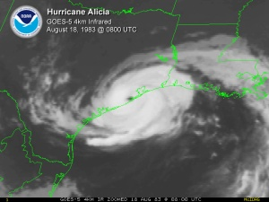 "Hurricane Alicia.  Dig that crazy ""high res"" '80's resolution."