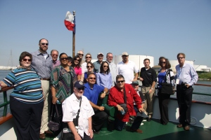 Part of the South Texas ACP crew on the bow of the M/V Sam Houston. Click to enlarge.