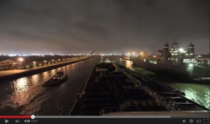 Screen grab from the video Night Run of The Houston Ship Channel by Houston Pilot Lou Vest.  Click to play; 2:27.